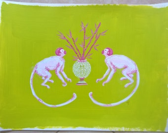 Pink monkeys and bamboo