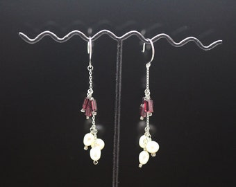 1pair(je-0455) - sterling silver earrings with natural garnet and fresh water pearl