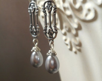 Lady Sybil Earrings - Downton Abbey Jewelry - Pearl Earrings - Bridesmaid Earrings - Wedding Jewelry - Vintage Style Jewelry - Gift for Her
