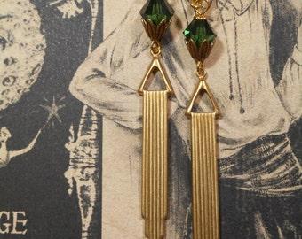 Miss Fisher Flapper Earrings - Phryne Fisher - Art Deco Earrings - Downton Abbey Earrings - Great Gatsby Jewelry - 1920s Jewelry