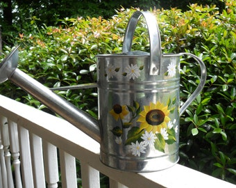 Watering Can Sunflowers Hand Painted Galvanized Metal