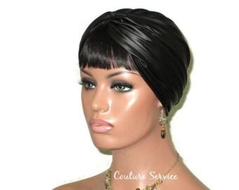 Black Turban, Women's Black Turban, Handmade, Black Fashion Turban, Faux Leather Turban, Black Twist Turban, Black Turbin, Fashionable
