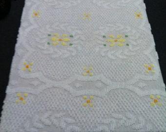 Summer chenille bedspread, vintage floral