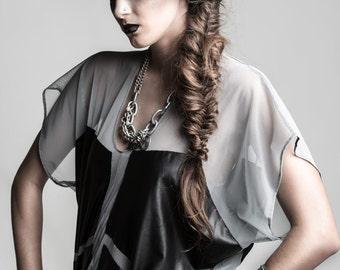 Sheer Mesh Color Block Tunic - Dove Gray & Black