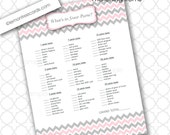 What's in Your Purse Shower Game / pink gray chevron / for baby or bridal shower / girl baby shower games / printable / instant download