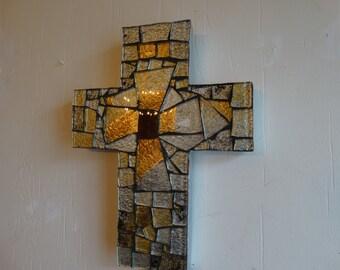 Mosaic Cross Dichoric Glass, Home Decor
