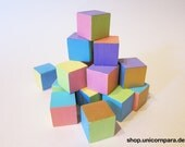 Beach House Hand-painted Decorative Wooden Blocks; Multicolour Pastel