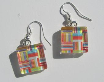 Bright Multicolor Print Earrings, Glass Dangle Earrings, Summer Earrings