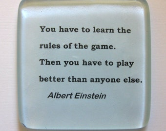 Glass paperweight.  Desk accessory. Albert Einstein quote.  Paperweight with a message..