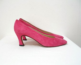 Vintage 1980s Pink Suede Pumps Medium High Heel Shoes / U.S. 7 M