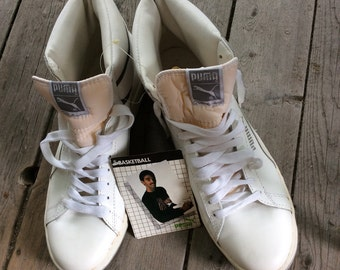 Deadstock Vintage 1980's White Leather Puma Ralph Sampson Sneakers Shoes Kicks size 12 Silver NOS NWT