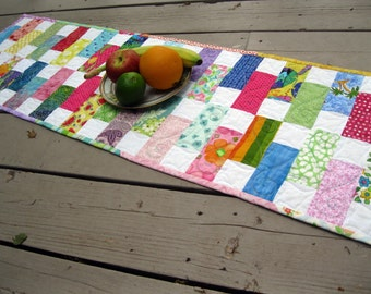 Bright Stepping Stones 13x47 quilted table runner in bright colors
