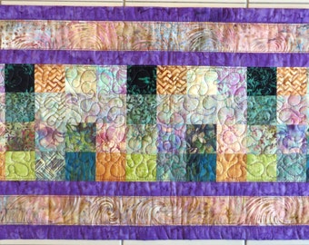 Handcrafted Quilted Batik Table Runner in lavender gold mauve blues and greens