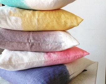 DipDye Pillow - ombre pillow - linen pillow+insert
