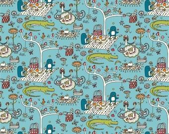Organic Cotton KNIT Fabric - Birch Picnic Whimsy - Picnic