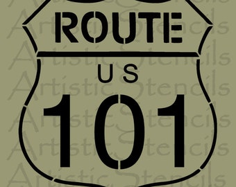 STENCIL US Route 101 Road Sign