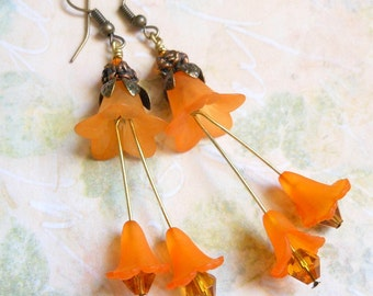 Orange Sherbert Tulip Earrings,Ruffly Long Earrings,Dangle Earrings,Bridal,Wedding