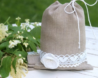 Set of 6 Natural Linen and white crocheted flower   Wedding gift bags  Grey Linen gift bags