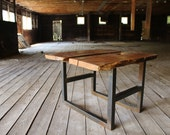 """reclaimed chestnut and steel coffee table or bench """"scratch-n-dent"""" special"""
