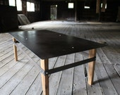 reverse wood and steel coffee table