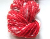 Handspun Yarn - Singles Yarn - Red Snowberries  - 1 oz mini skein