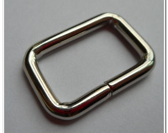 "1 Inch Rectangle Wire Loops / Rings, Nickel Finish, 10 Pieces, Purse Handbag Bag Making Hardware Supplies, Rectangular, 1"", RNG"