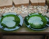 One Pair Vintage Anchor Hocking Green Soreno Ashtrays.