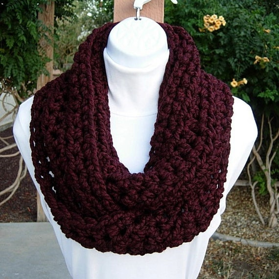 Chunky INFINITY SCARF, Loop Cowl, Dark Burgundy Wine Red with Black, Thick Wool Blend Crochet Knit Winter Circle, Neck Warmer..Ready to Ship