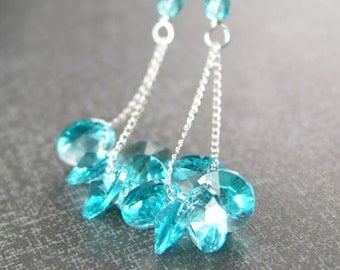 Sea Blue Crystal Earrings Sterling Silver Hook Earrings Aquamarine Swarovski Earrings Delicate Aqua Blue Dangle Earrings
