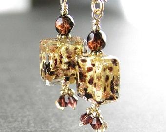 Leopard Print Venetian Glass Earrings 14k Gold Fill Hook Earring Authentic 24k Gold Foil Murano Glass Earrings Cube Dangle