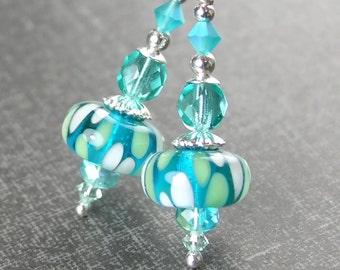 Sea Green Blue Drop Earrings Sterling Silver Leverback Earrings Seafoam Artisan Lampwork Glass Earrings Teal Dangle Earrings