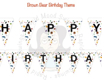 Brown Bear and Friends Birthday Theme Bunting-Banner