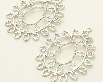 PD-1004-MS / 2 Pcs - Hammered Filigree Drop Pendant, Matte Silver Plated over Brass / 26mm x 35.9mm