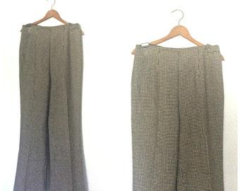 Vintage Womens Pants - houndstooth - womens slacks - 60s pants - wide leg  - wool pants - preppy - high waist - flared - Medium