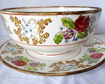 Hand Painted Japan Bowl with Saucer Planter Floral Motif Gold Plated Home and Garden Lawn and Garden Gardening Pots and Planters