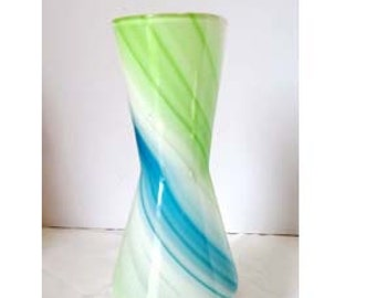 Small Green Blue and White Art Glass Flower or Bud Vase Glass Home and Garden Decor Vases