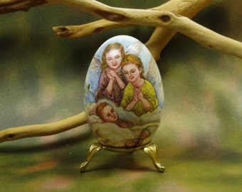 Prayer To Your Guardian Angel/ Hand Painted Goose Egg/ Egg Art