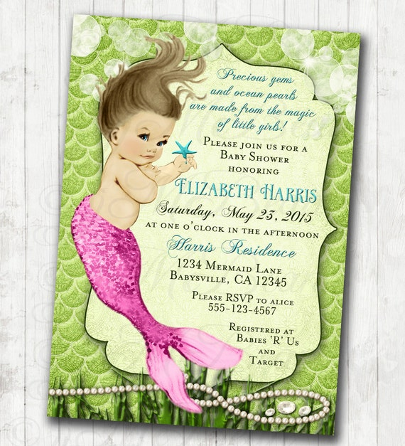 mermaid baby shower invitation little mermaid ocean baby shower under