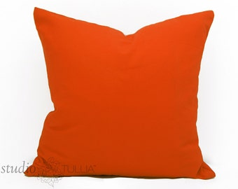 Orange Pillow Cover  - 20 inch -  Solid Cotton - Celosia Orange - Persimmon - Tangerine - ready to ship