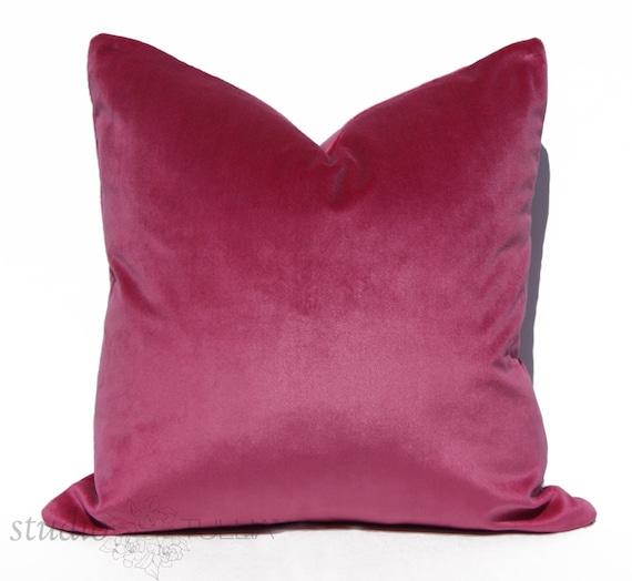 SALE Raspberry Velvet Pillow Cover Decorative Pillow Cover