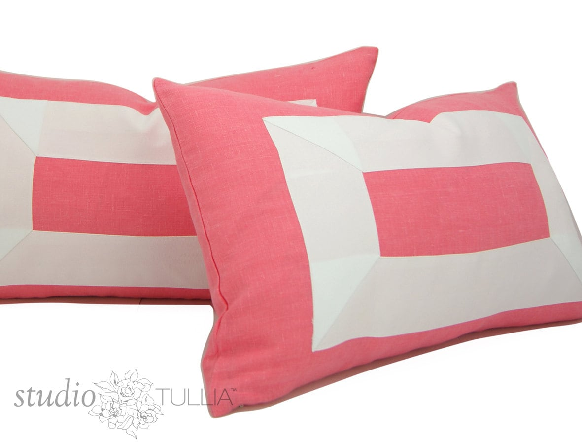 Ready Made Decorative Pillow Covers : Coral Linen Lumbar Pillow Covers SALE Two 14 x 20 inch