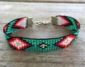 Diamond Turquoise Handmade Beaded Bracelet