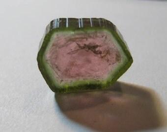 Watermelon Tourmaline slice  ............   13.5 x 10.5 x 3.4  mm  .......                       B1712