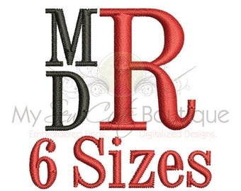 Stacked Monogram Fonts - Machine Typewriter Letters Embroidery Fonts - 6 Sizes - Instant Download