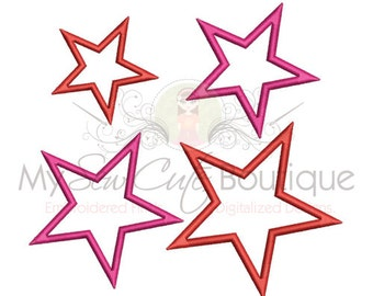 Single Star Applique Design Digitized Embroidery Machine Design Pattern - Instant Download