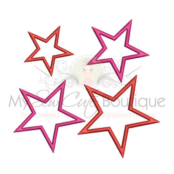 Single Star Applique Design Digitized Embroidery Machine Design Pattern - Instant Download