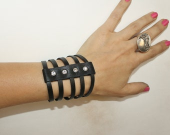 Sliced Black Leather Bracelet, Swarovski Crystals Cuff