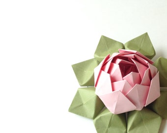 Paper Flower - Handmade Origami Lotus Flower - Gift, Table Decoration, Valentine's Day -- Blossom Pink, Moss Green