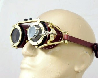 Steampunk Goggles Victorian Theatrical Goth Industrial Brass LARP BROWN  - Exclusively from Steampunkdesign