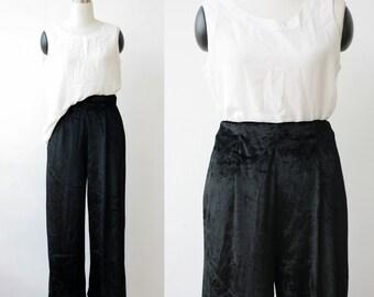 1990's vintage Liz Wear black velvet pants large, palazzo pants L, black wide leg pants